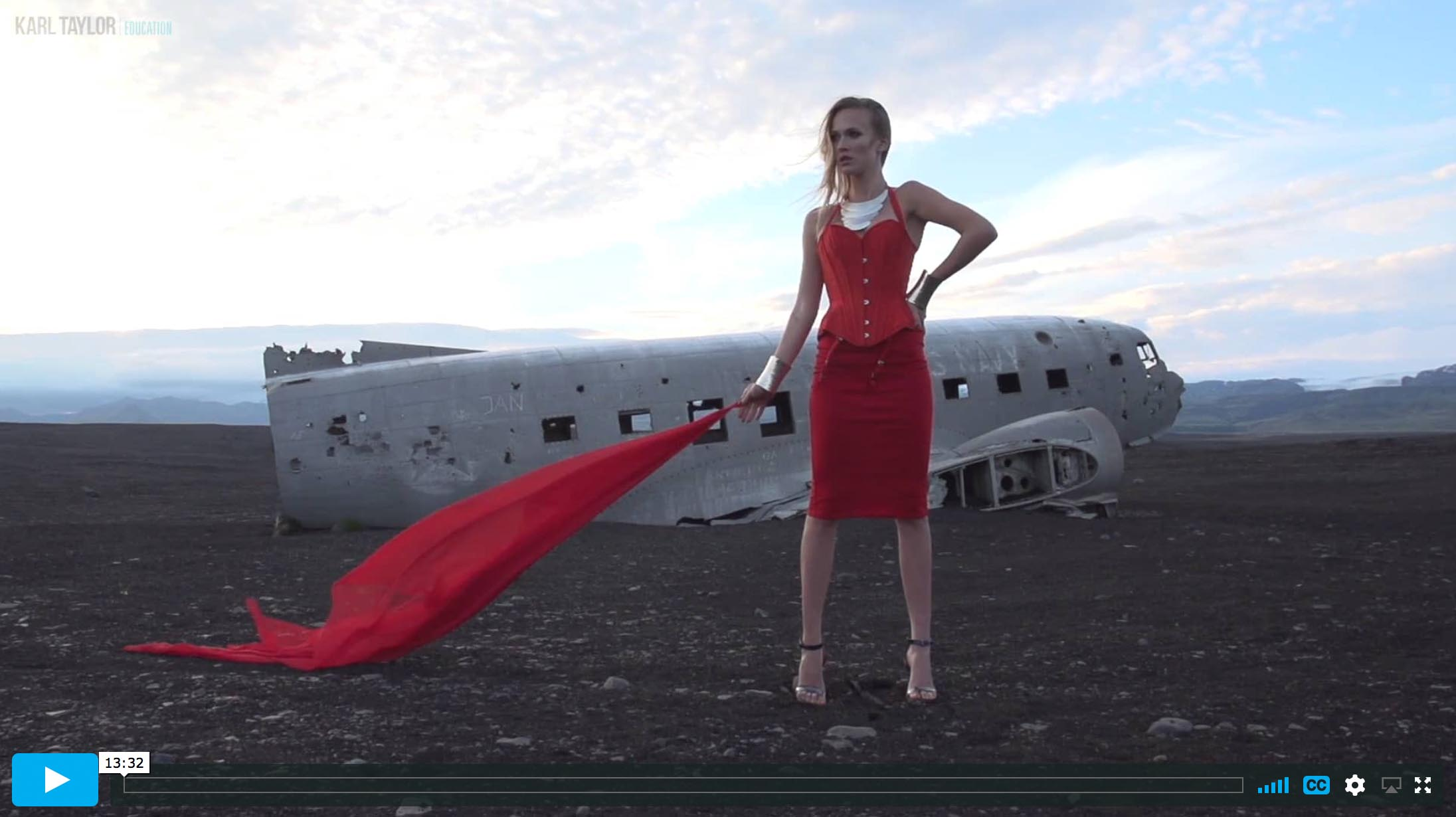 Fashion shoot at the site of the DC3 plane crash