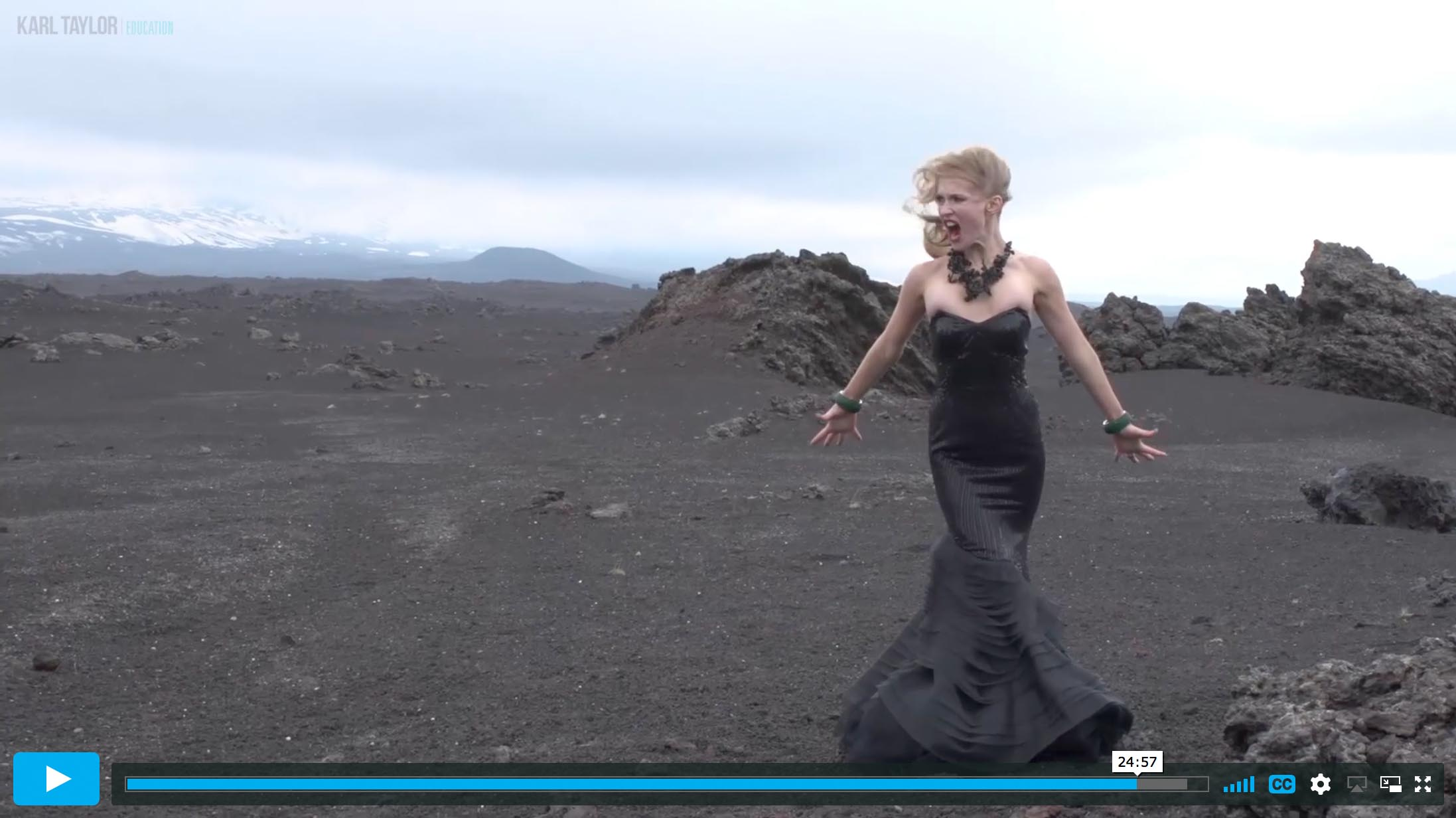 Dramatic fashion shoot in a surreal landscape
