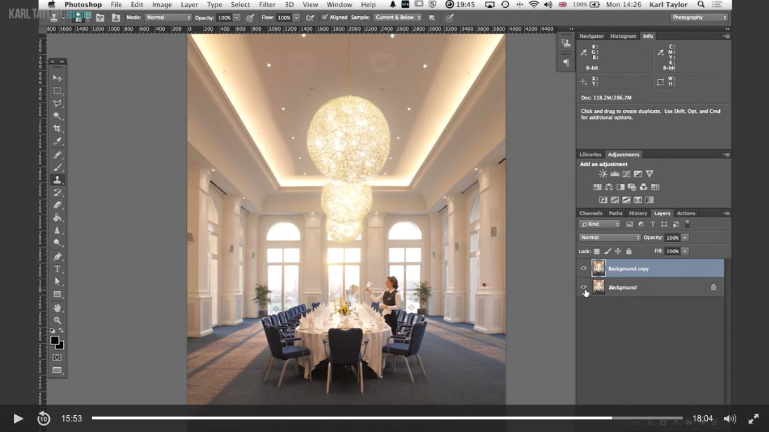 Practical demonstration on interior retouch