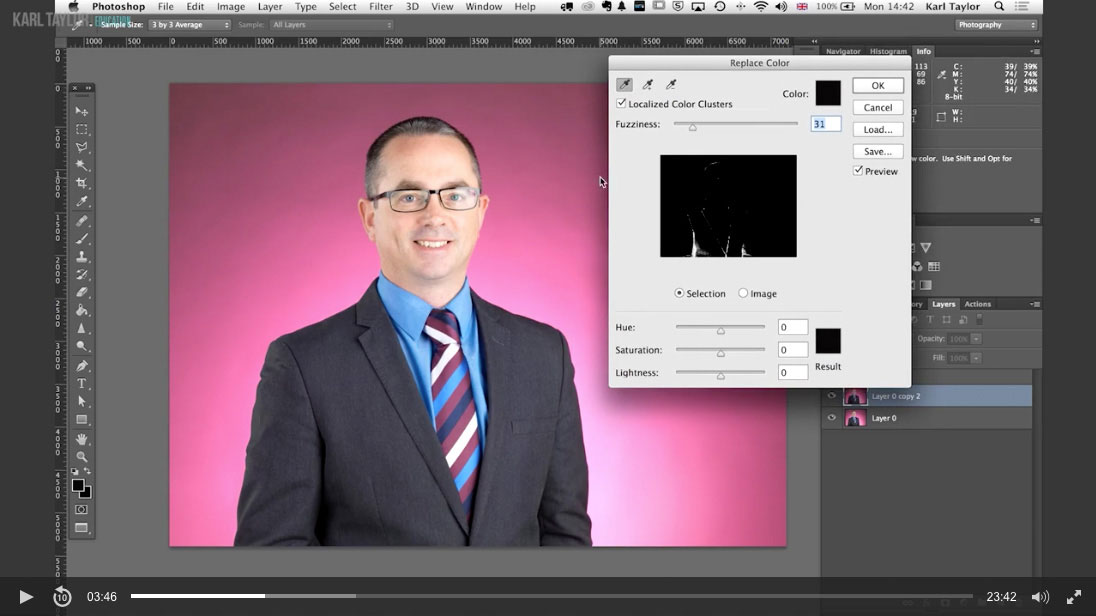 Practical demonstration on business retouch