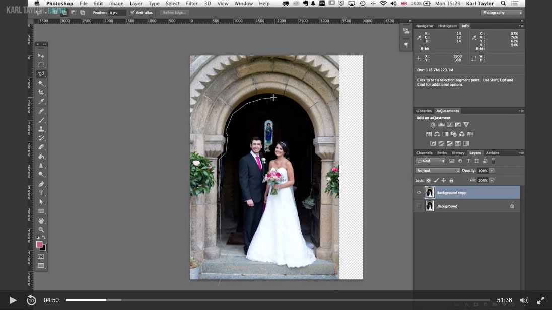 Practical demonstration on wedding retouch