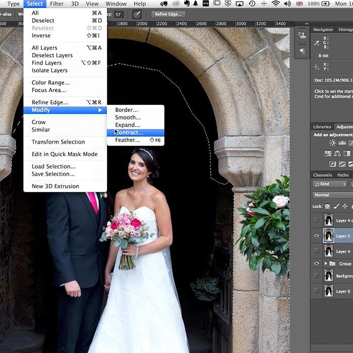 Practical demo wedding retouch