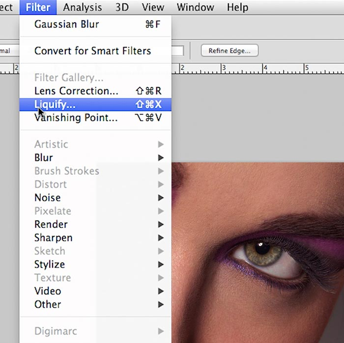 Beauty-style photography retouch – Liquifying, burning and dodging