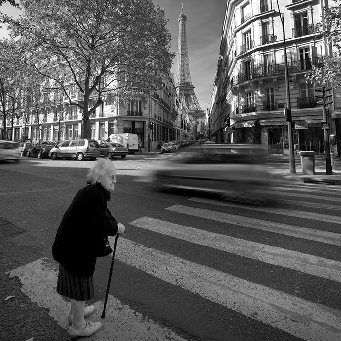 Black and white street photography with motion blur
