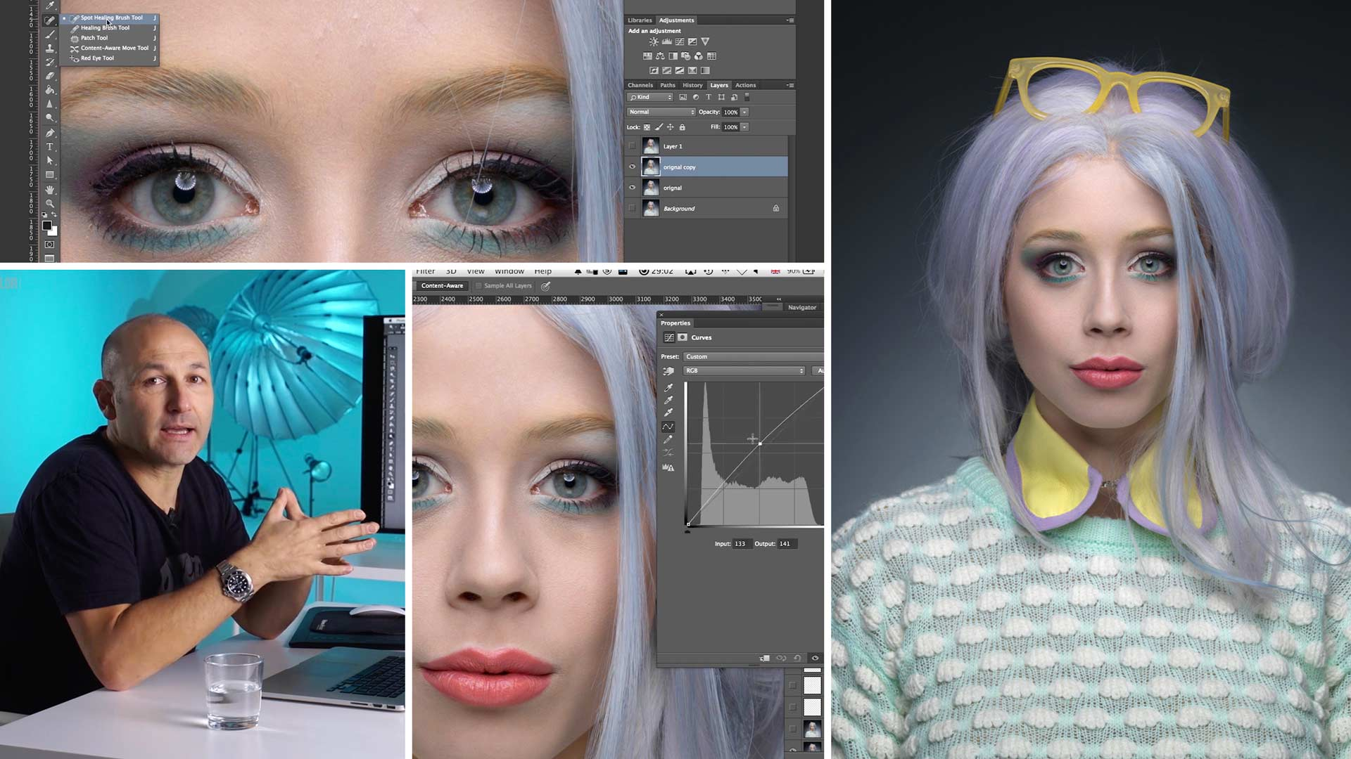 Practical demonstration on beauty retouch