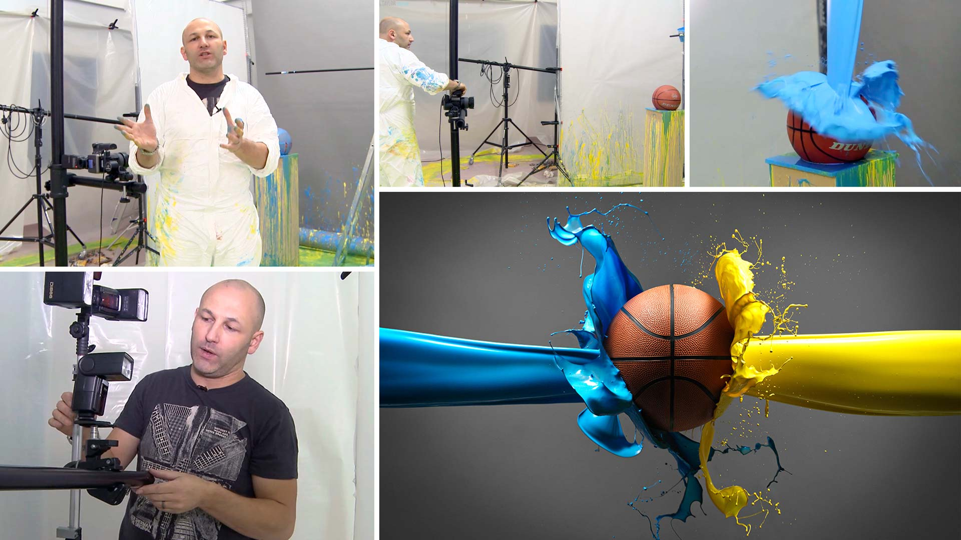 Sports product shoot with paint splash