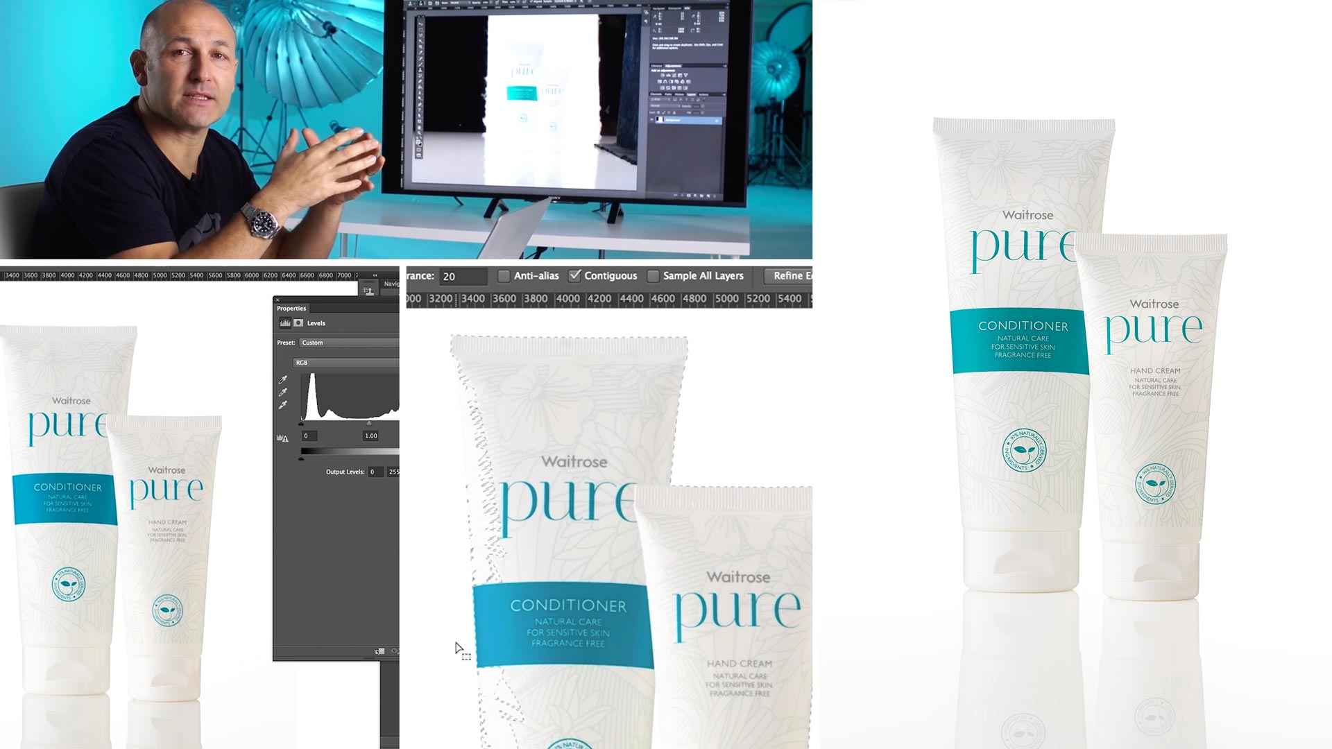 Practical demonstration on product retouch