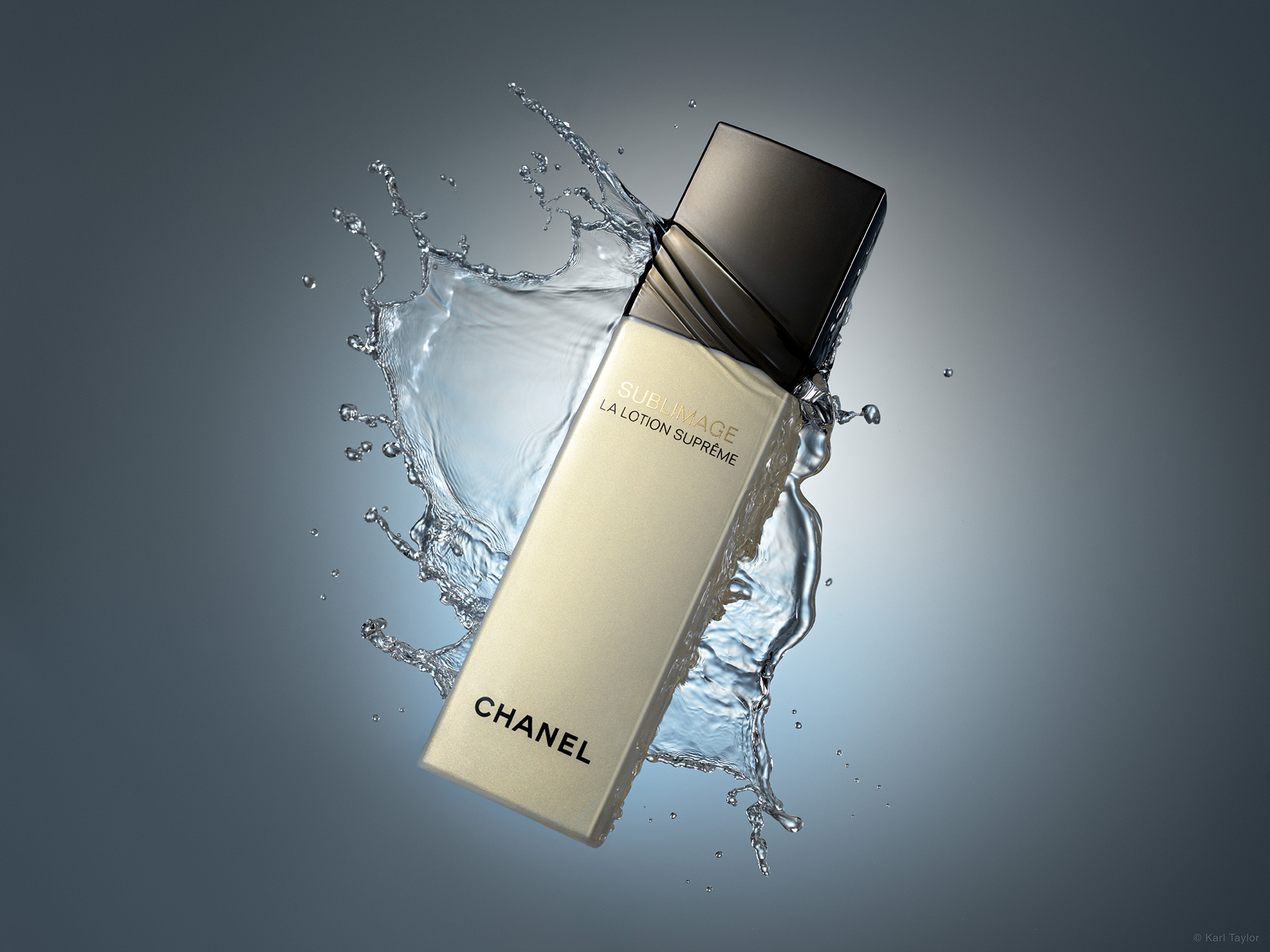 Chanel lotion product photography with water splash
