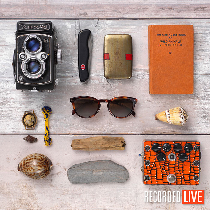 Flat lay of items on wooden surface
