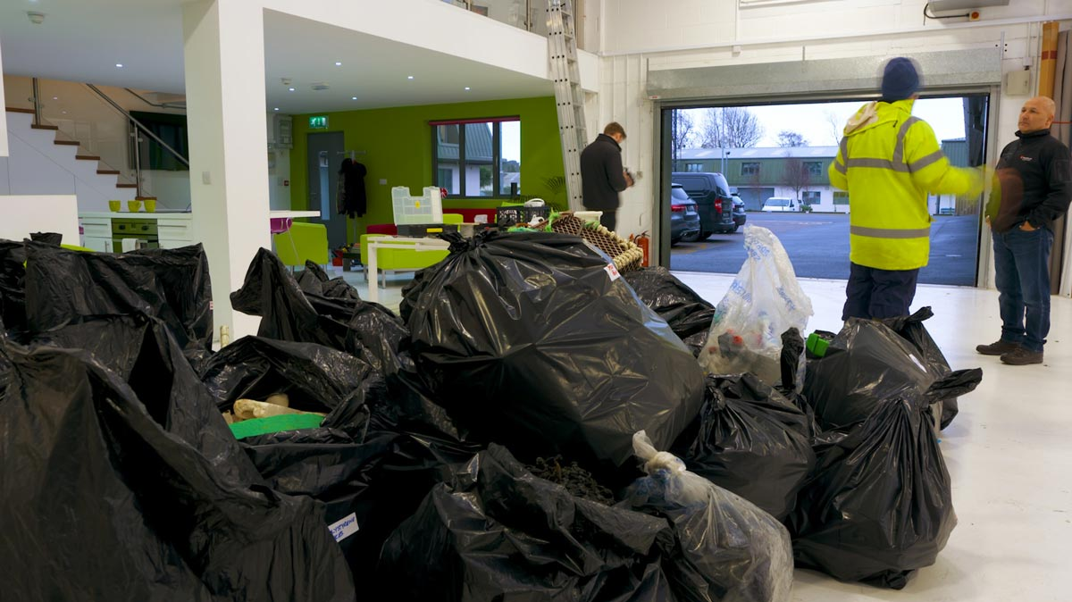Delivery of rubbish for ocean pollution awareness campaign