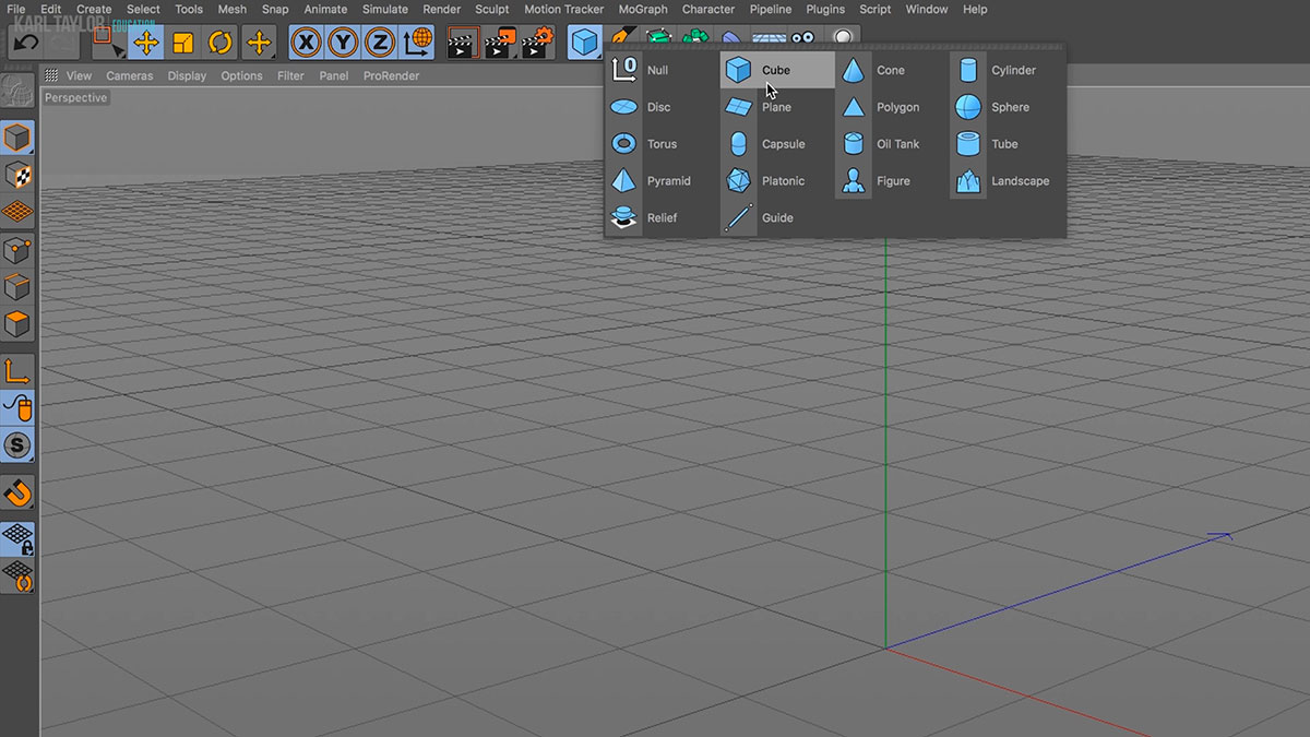 Cinema 4D interface & object tools