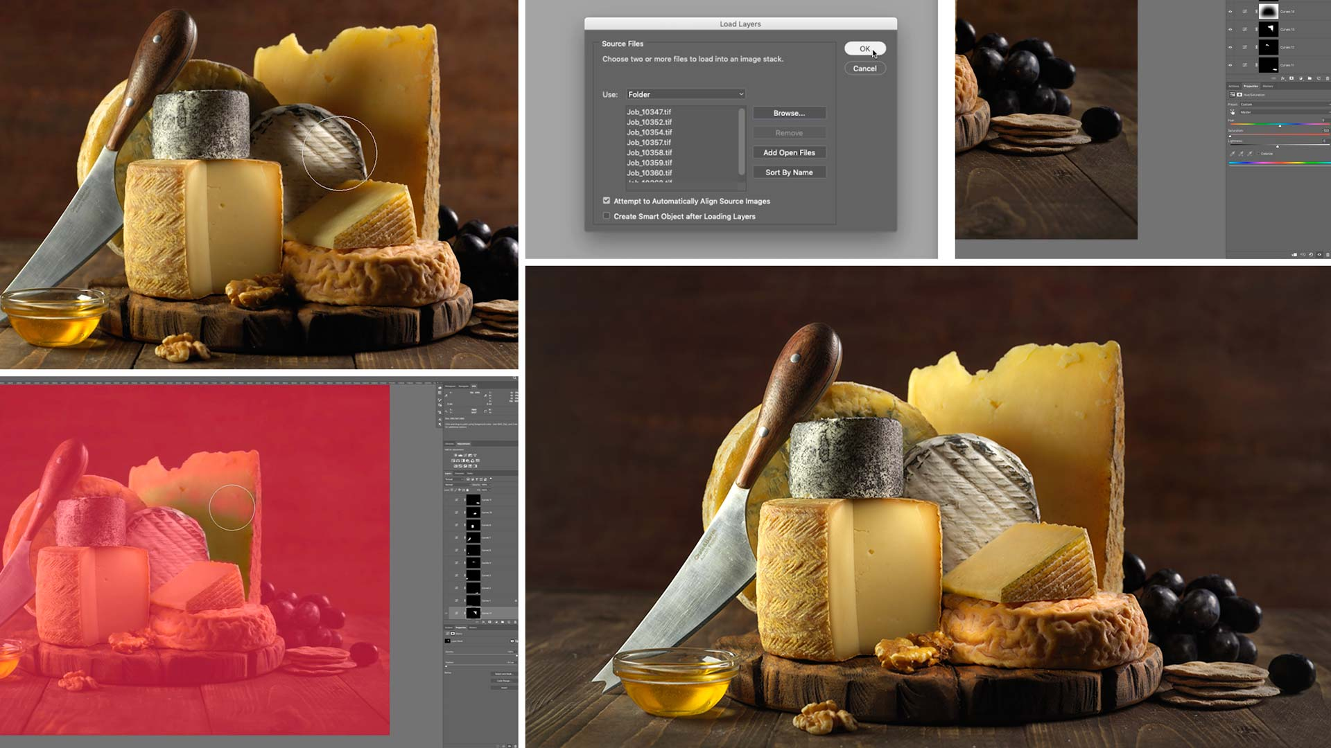 Post production for still life cheese food photography