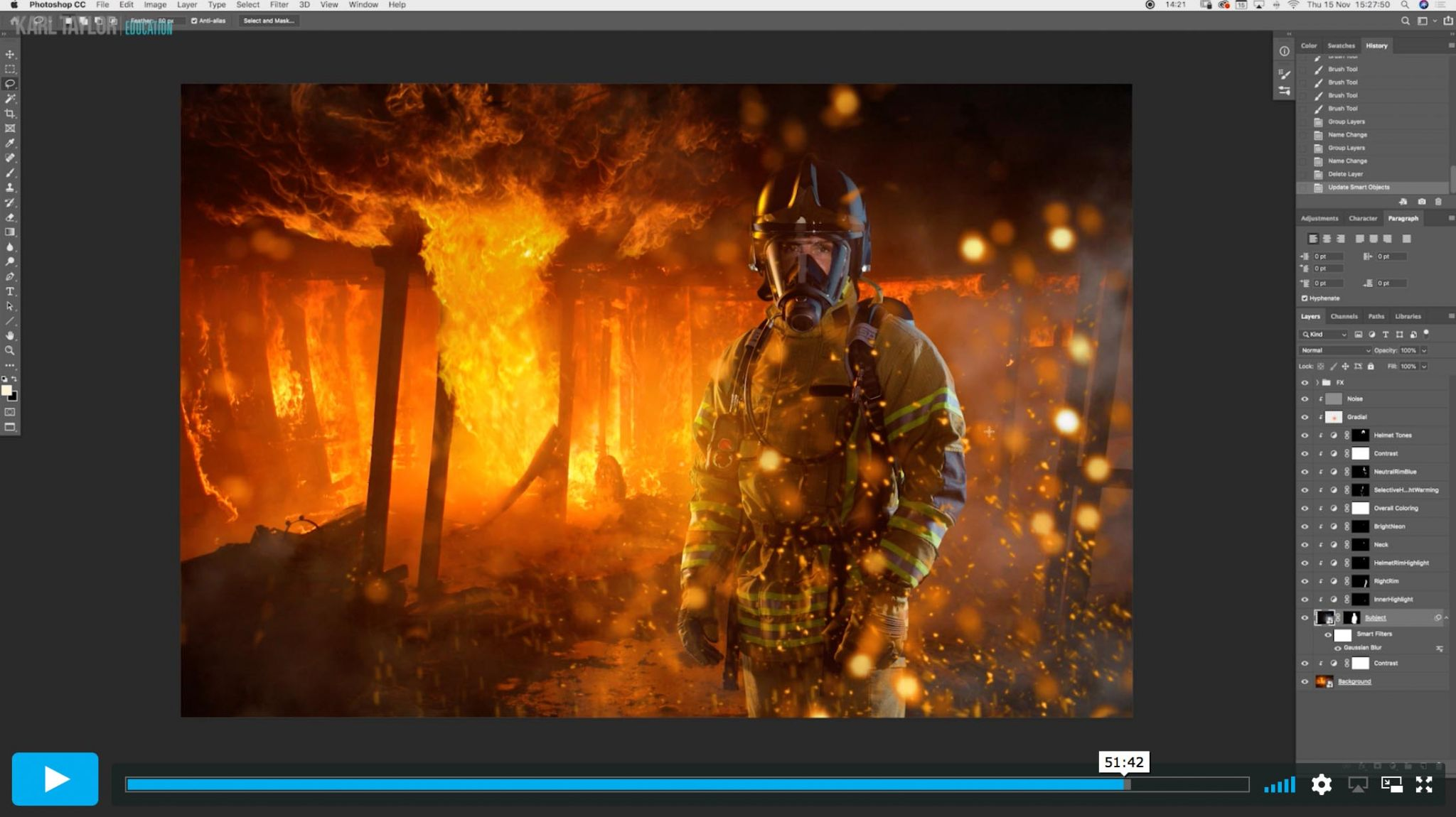 Generating sparks and fire using Photoshop tools