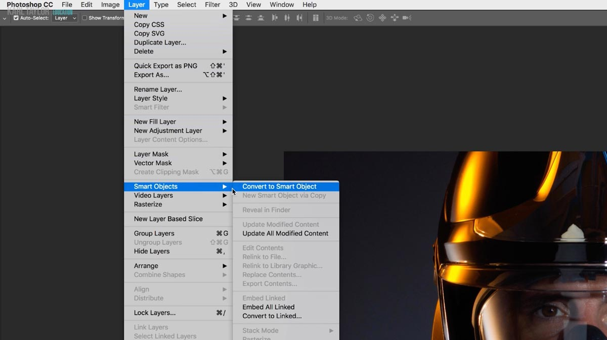 Creating smart objects in Photoshop