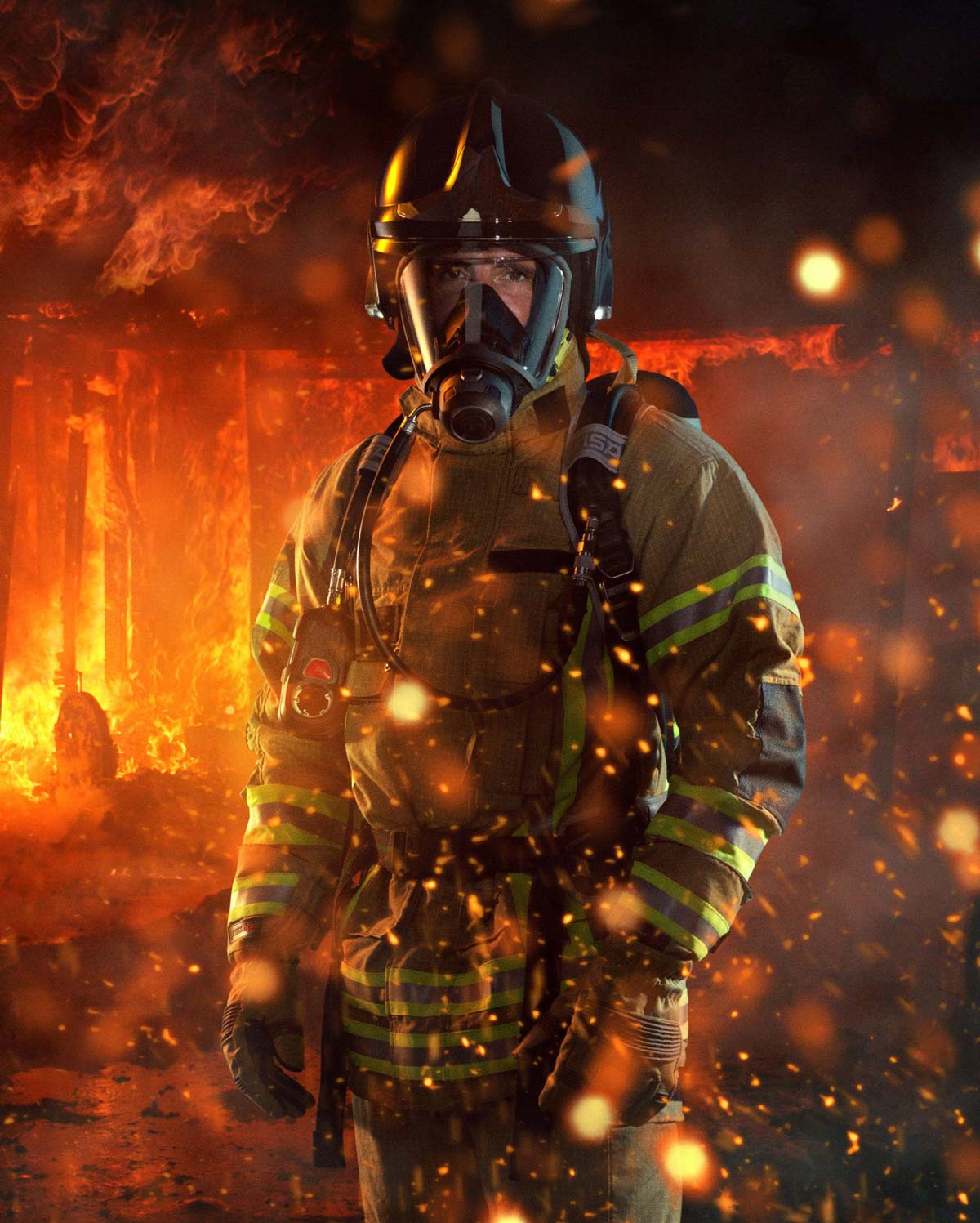 Product photography composite of fireman and surrounding flames