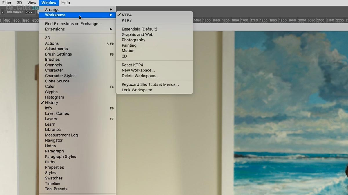 Creating a custom workspace in Photoshop