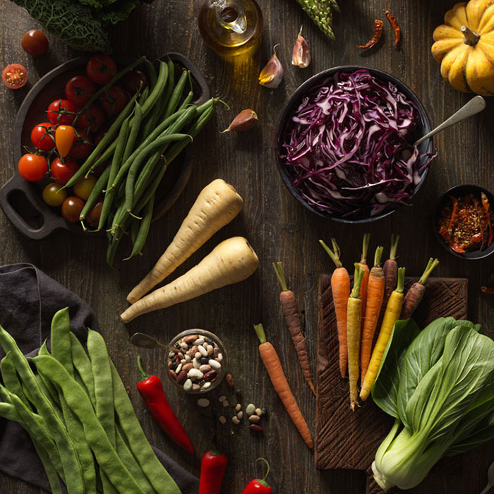 Flat lay of raw vegetables