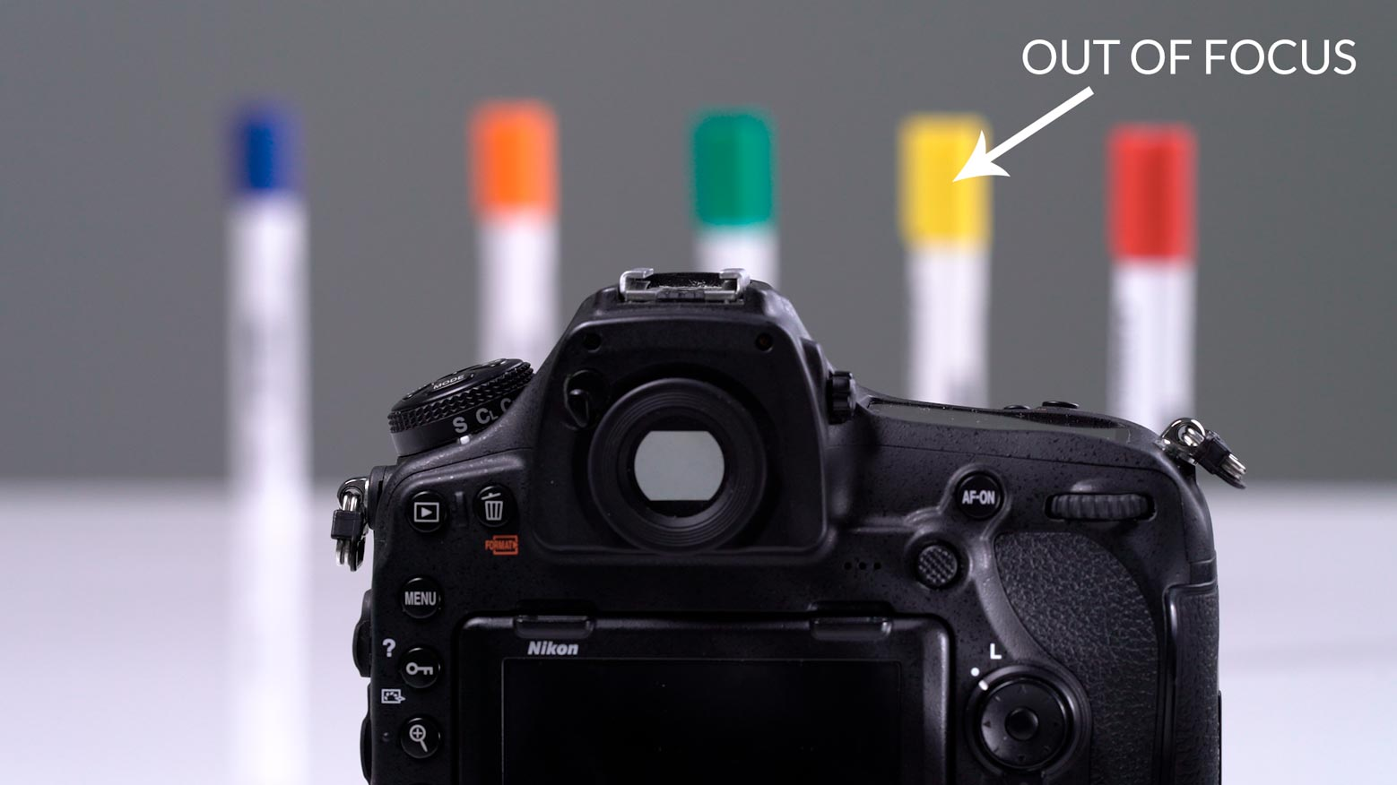 Example showing camera in focus with distant subject out of focus.