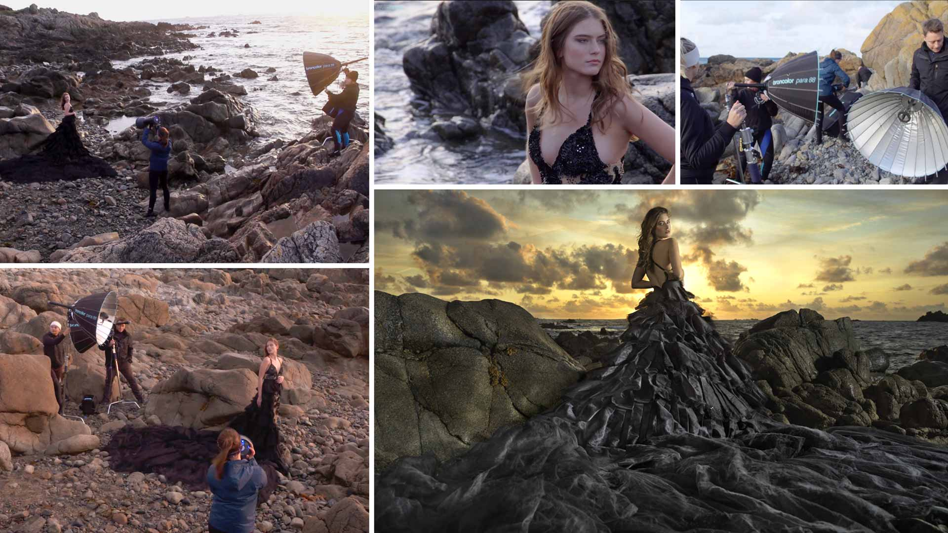 Photographing fashion on the coast with flash lighting