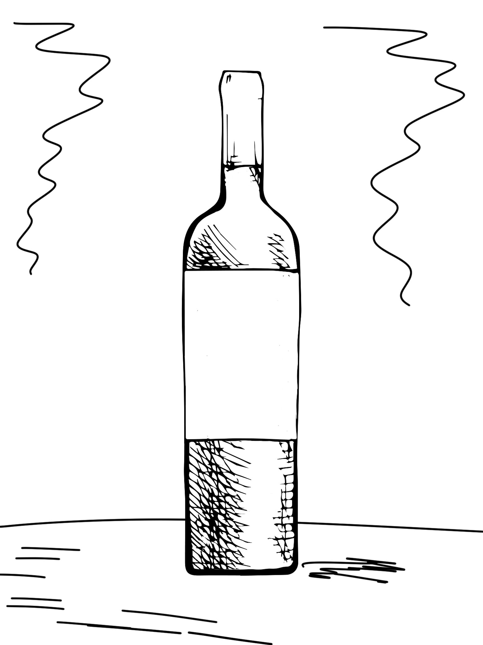 Wine bottle sketch for photography brief