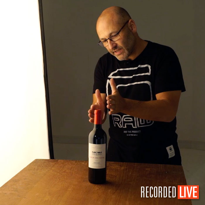 Wine bottle product photography class