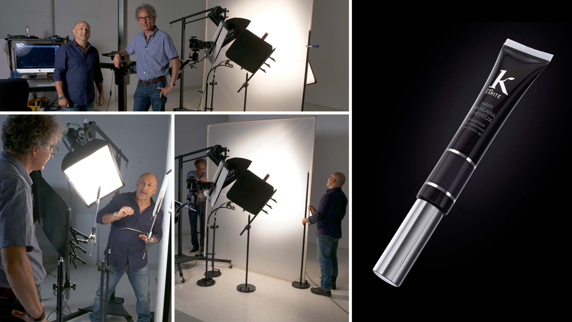 Black on black product photography using two lights