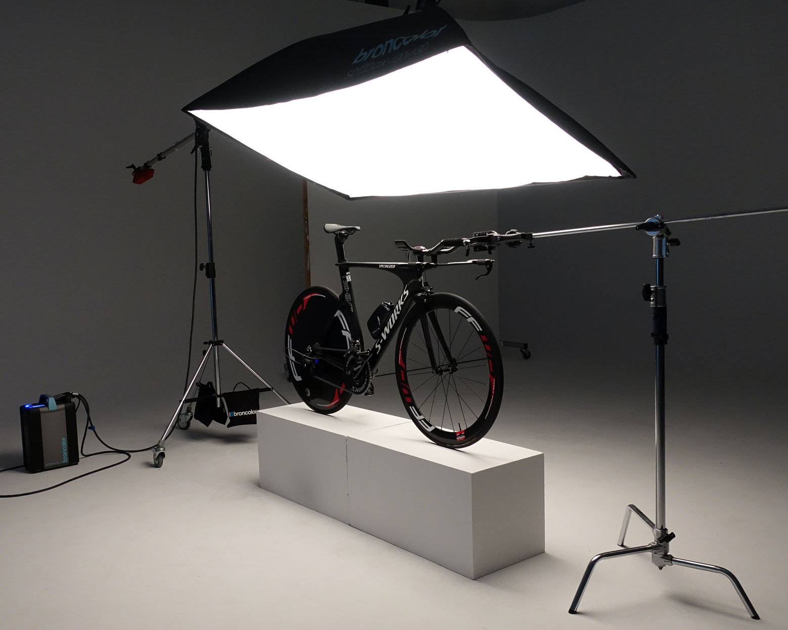 Bicycle fixed in position for product shoot