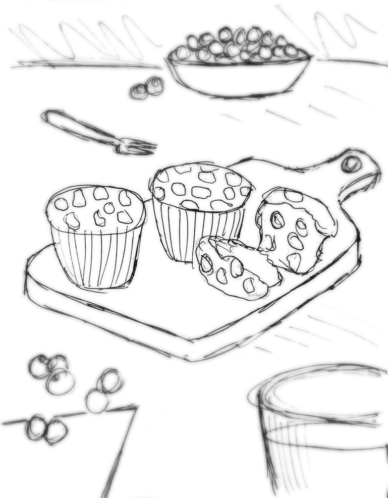 Annotated photography brief sketch of muffins