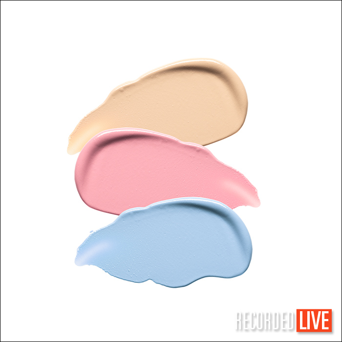 Cosmetic swatches on white background