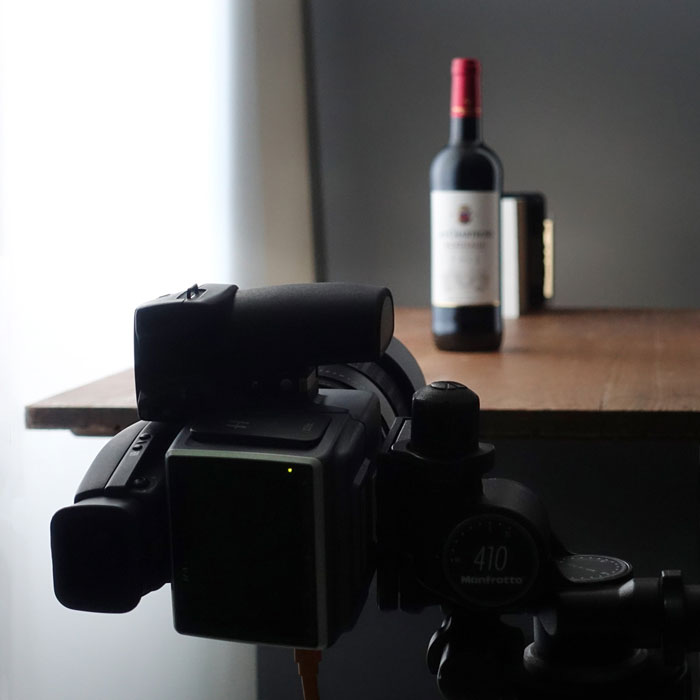 Photographing bottles using natural light