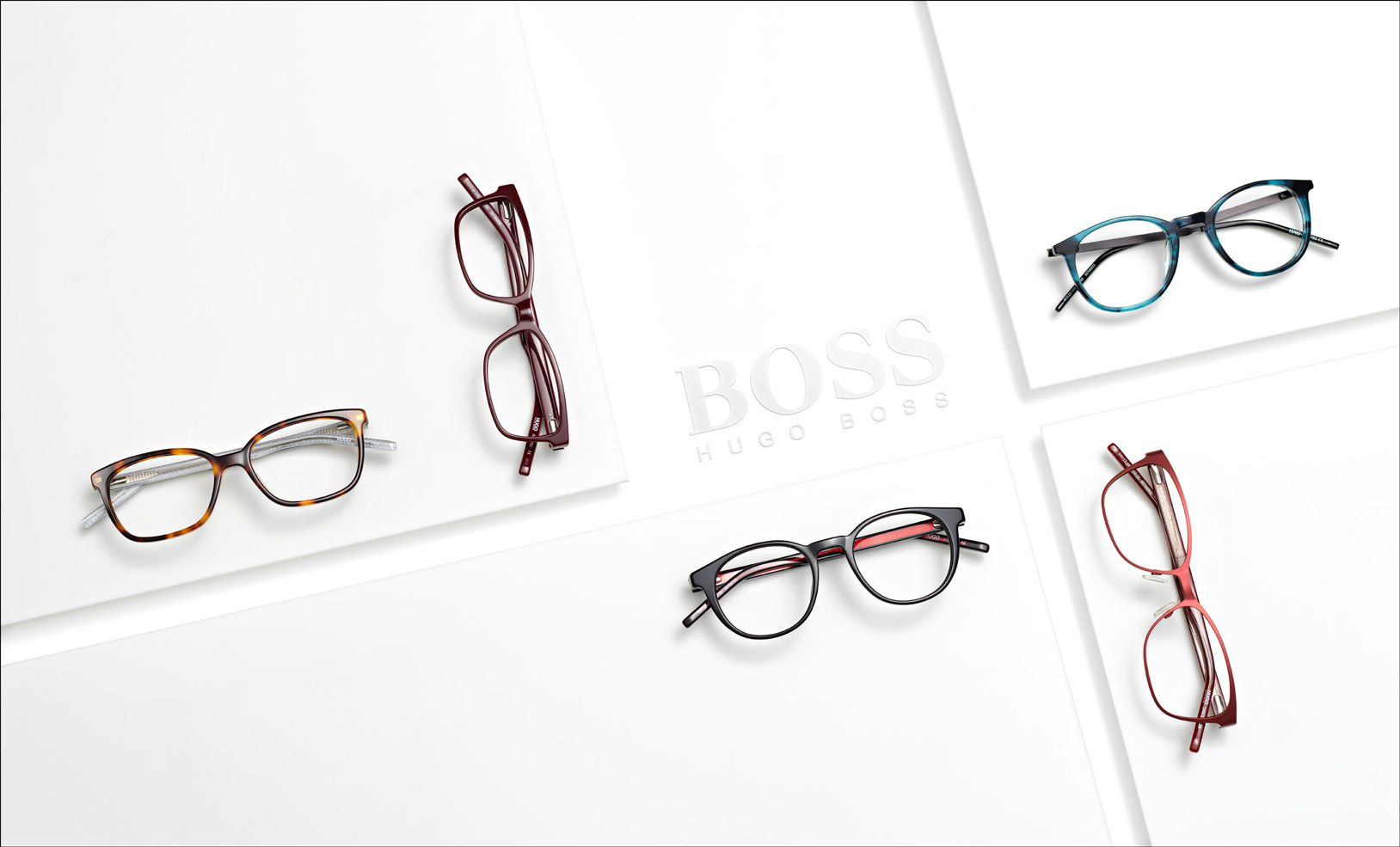 Aerial view of glasses on white squares