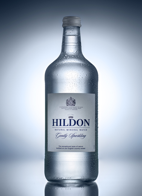 Hildon clear bottle product photography