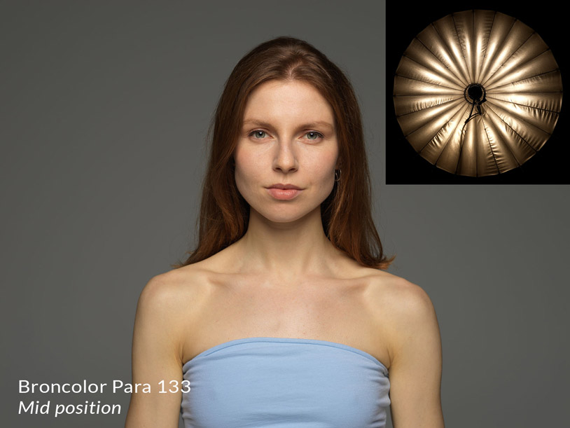 Broncolor para 133 in the mid position + result