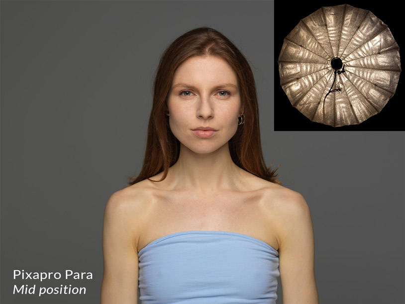 Pixapro parabolic reflector in the mid position + result