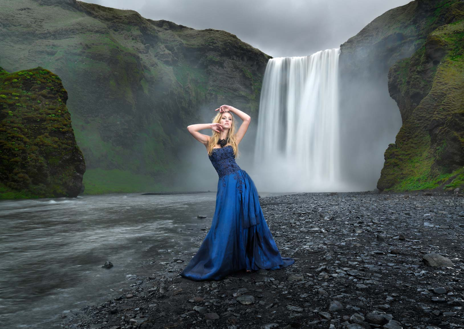 Model infront of waterfall with long exposure