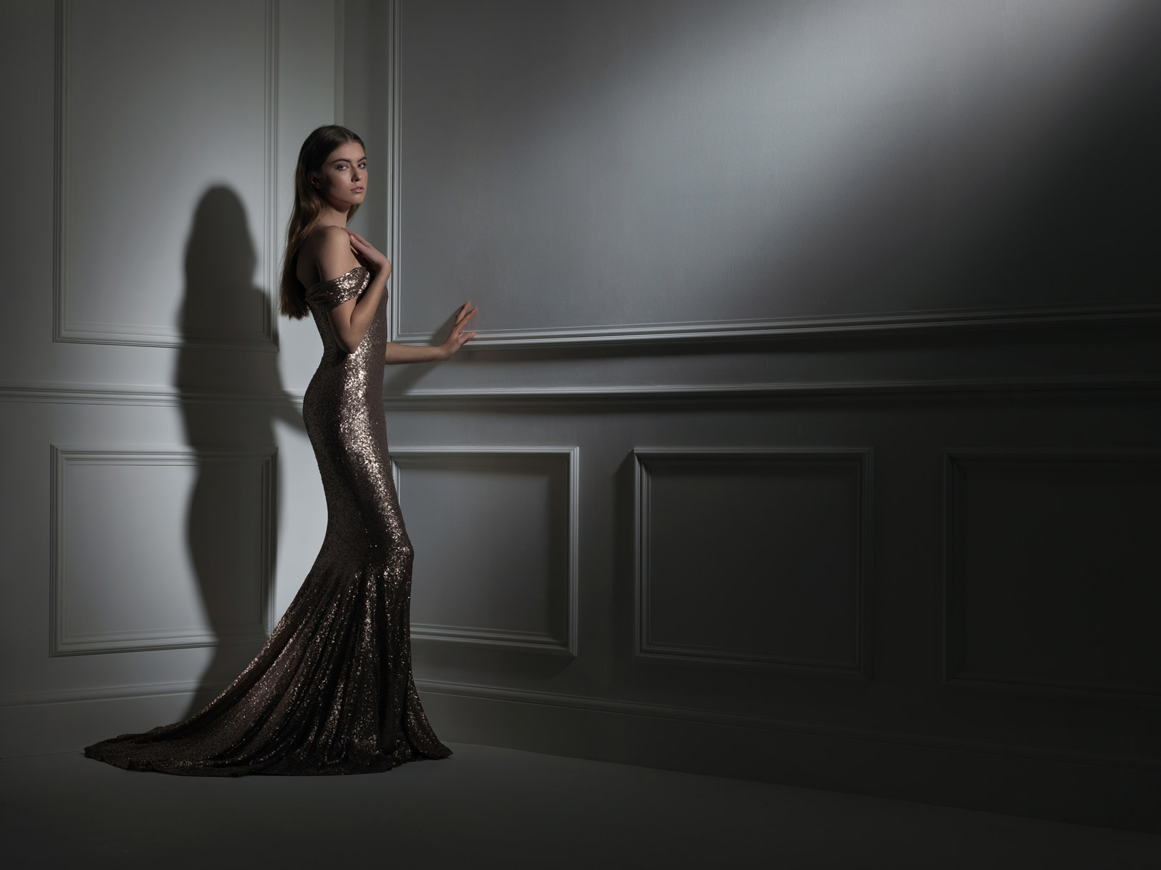 Fashion image with theatrical lighting