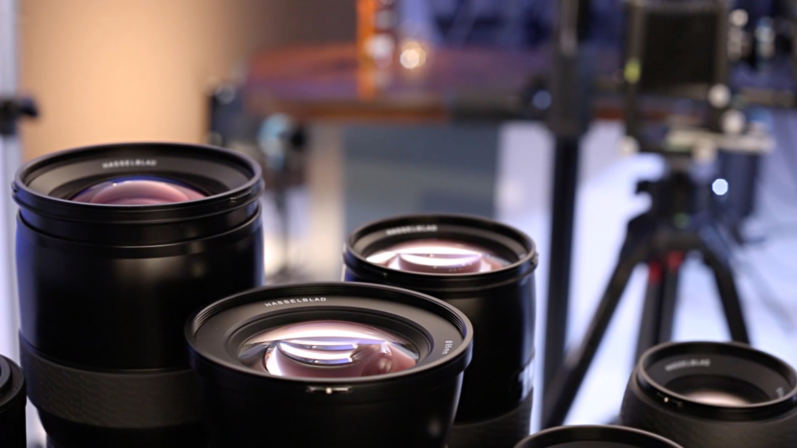 Lenses and other equipment in a photography studio