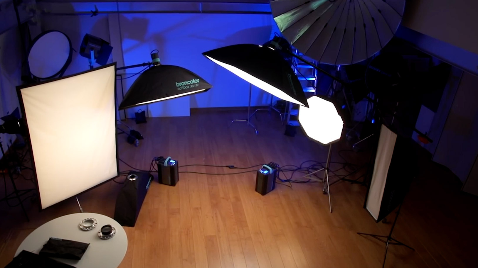 Softboxes in a small photography studio