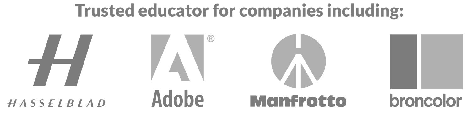 Trusted educator for companies including, Hasselblad, Adobe, Manfrotto & broncolor