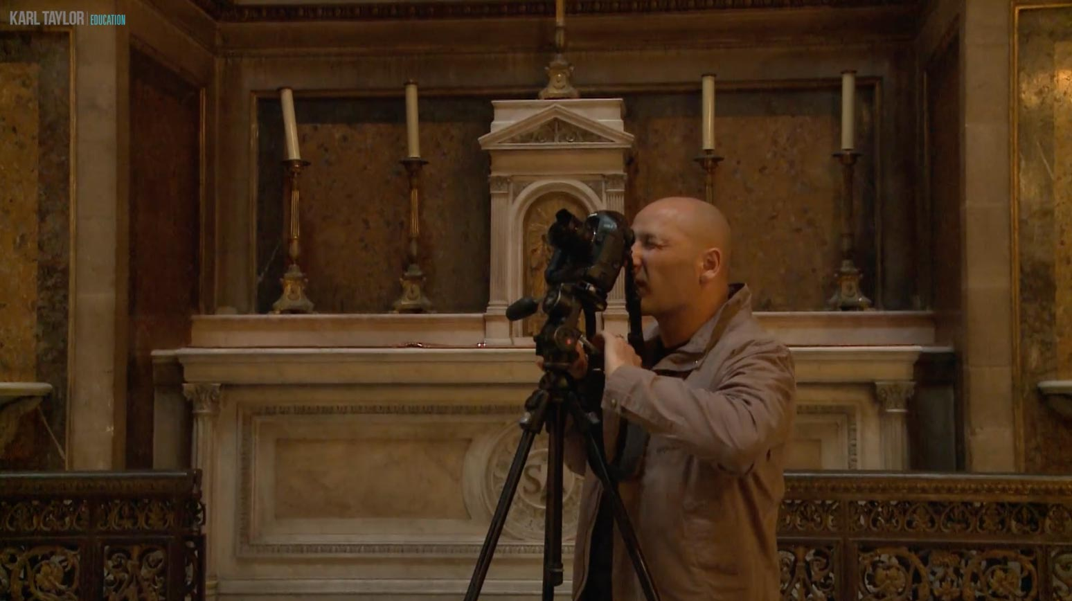 Karl using a tripod for photography architecture