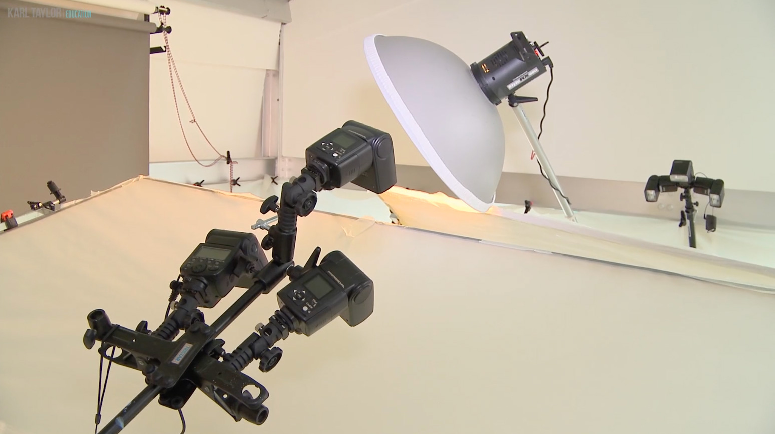Speedlights used in conjunction with strobes